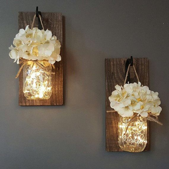 Large Wall Sconces Elements Decoration Glowing Mason Jar Wall Sconces