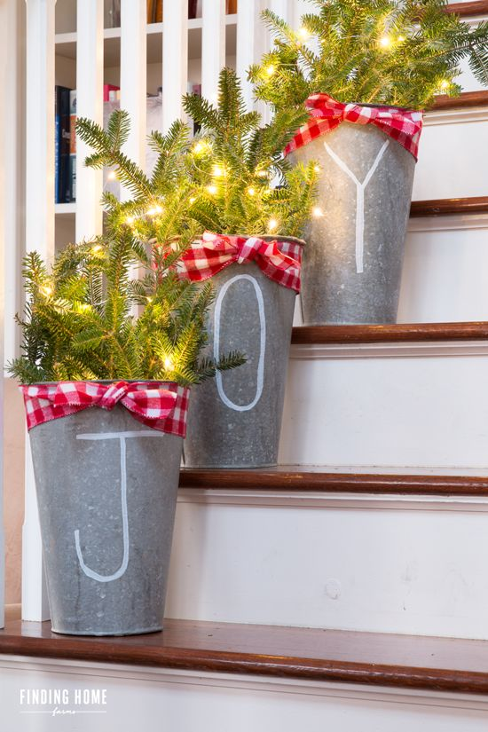 3 galvanized buckets with chalk pen lettering - Porch Decorating Ideas Christmas
