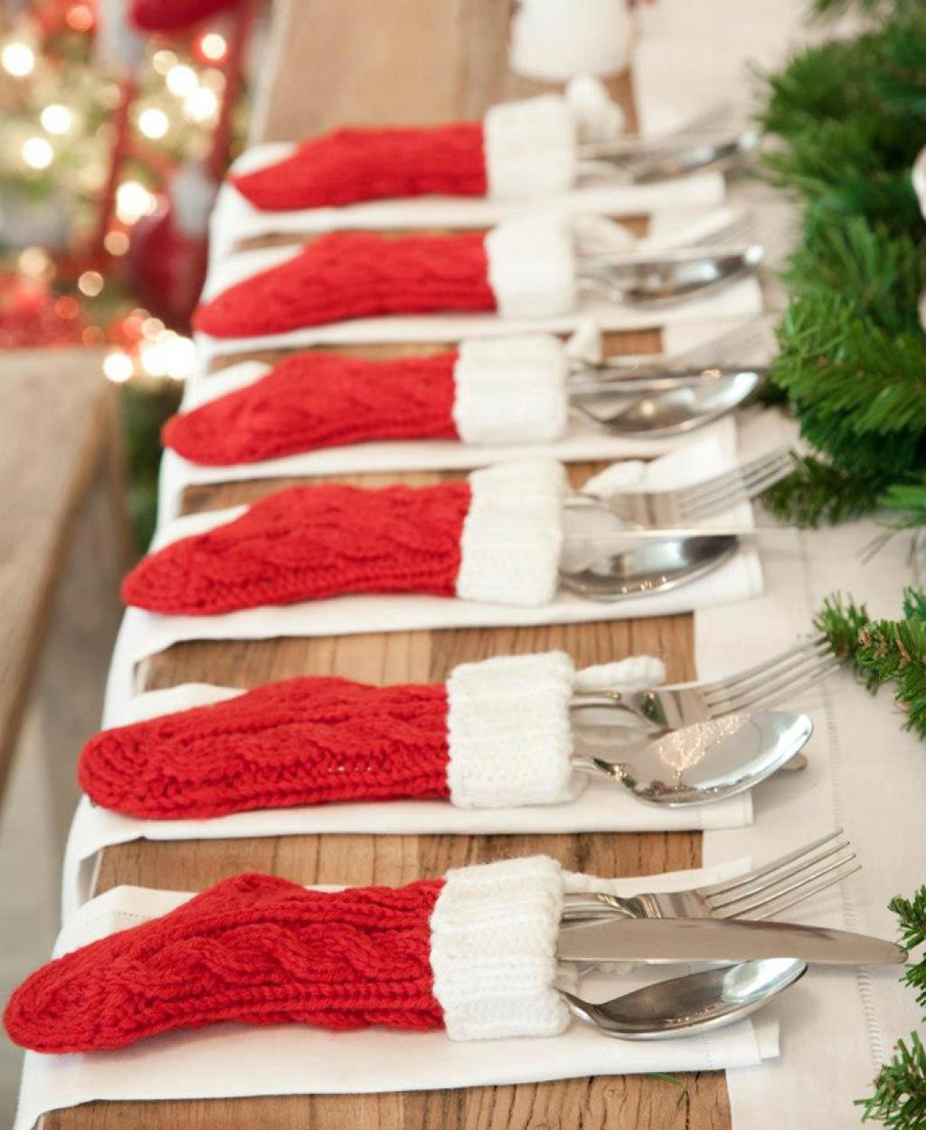 3 silverware stockings - Simple Christmas Table Decorations