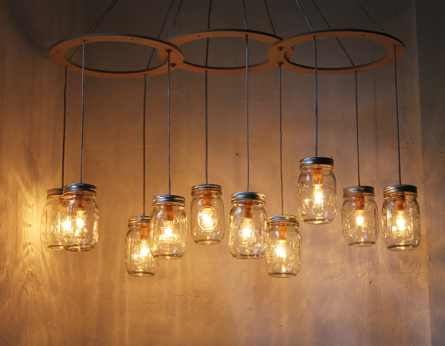 29 trendy farmhouse decoration ideas from etsy to buy mason jar chandelier aloadofball Gallery
