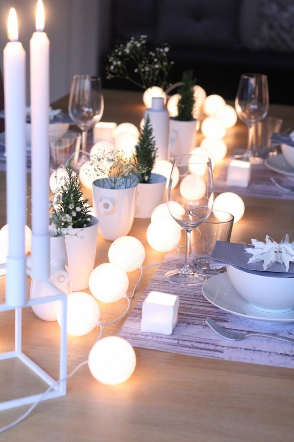 Diy home table decorations - 5 Miniature White Christmas
