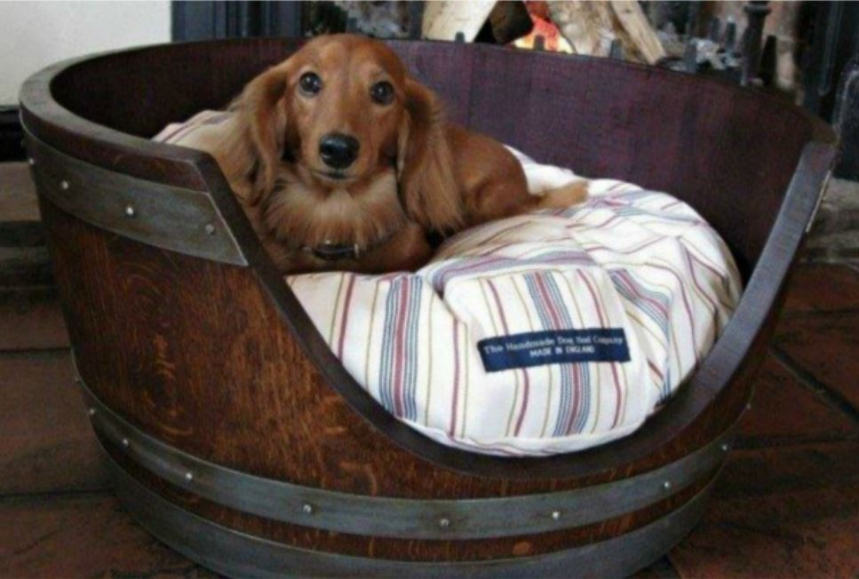 Recycled Wine Barrel Dog Bed