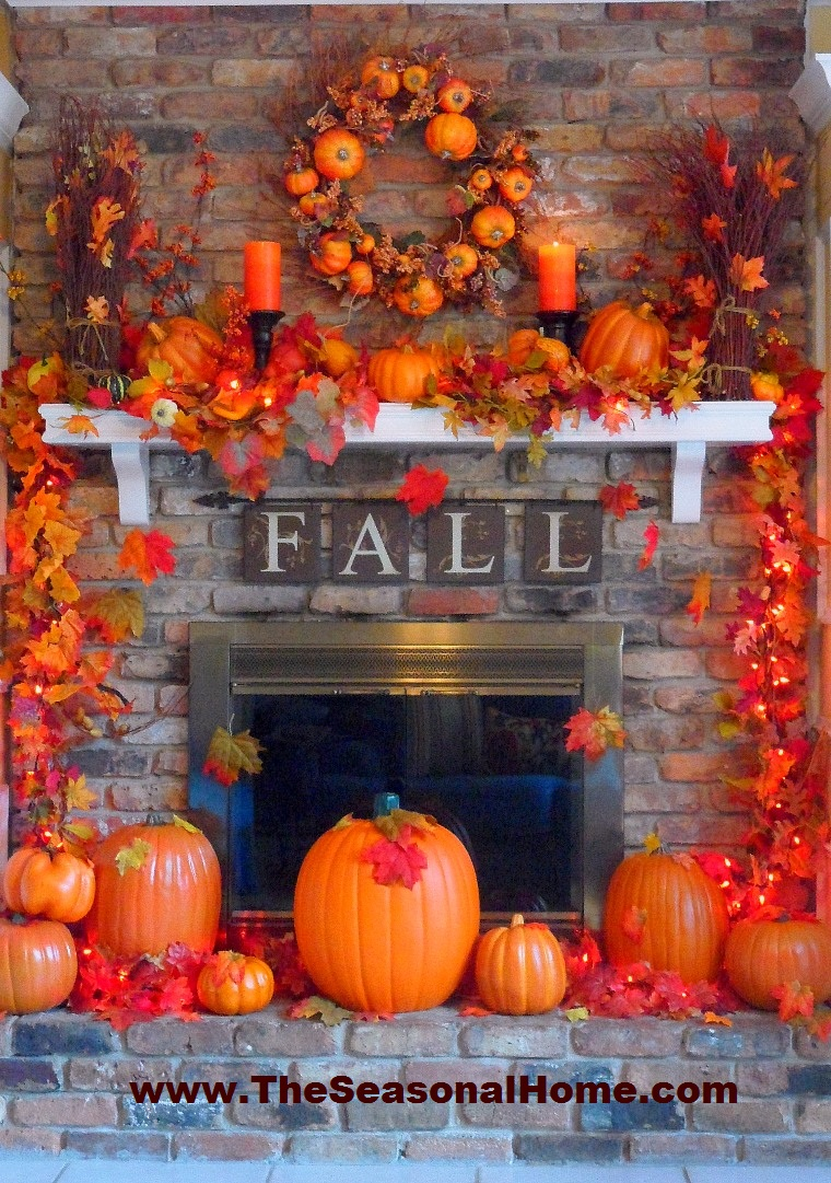24 best fall mantel decorating ideas and designs for 2017 for Fall pumpkin decorating ideas