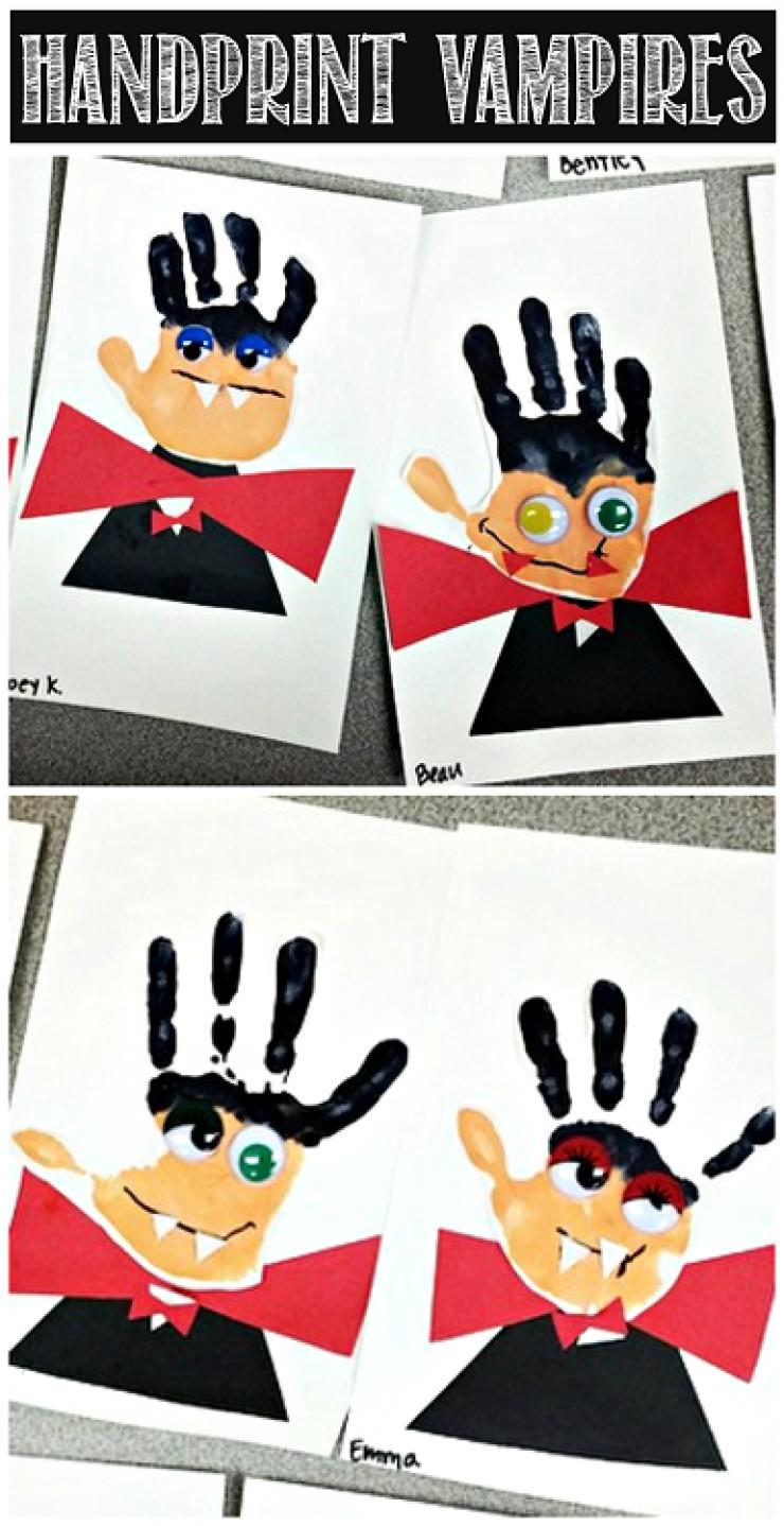 Painted Hand Print Dracula Halloween Decoration