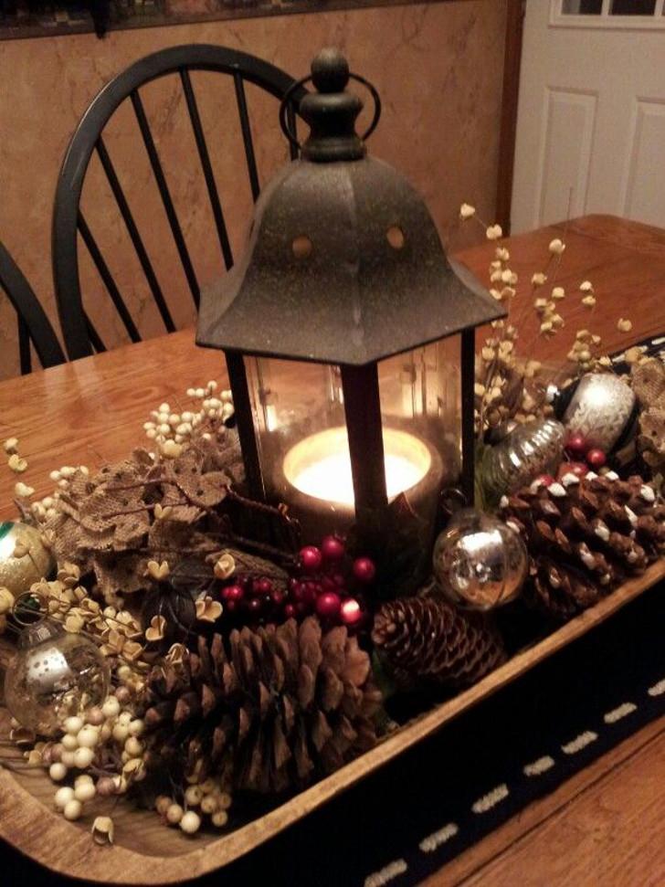 Rustic Cabin Lantern Centerpiece