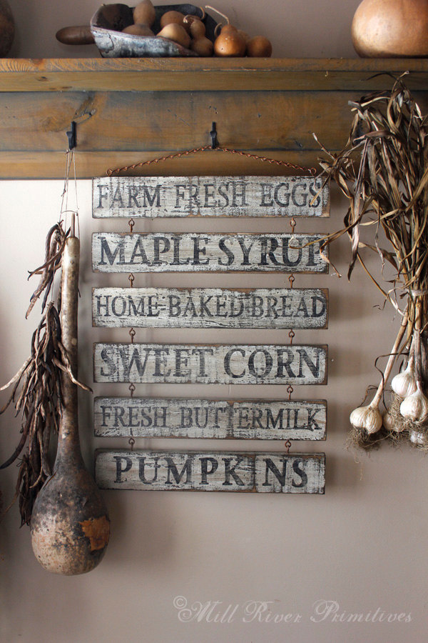 Custom Primitive Aged Farm Stand Wooden Menu Sign with Rusty Hook & Chain