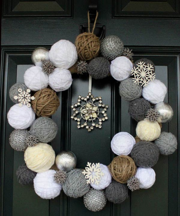 Neutral Yarn and Twine Ball Wreath