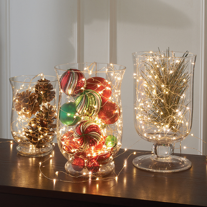 fairy light vases - Christmas Light Home Decorating Ideas