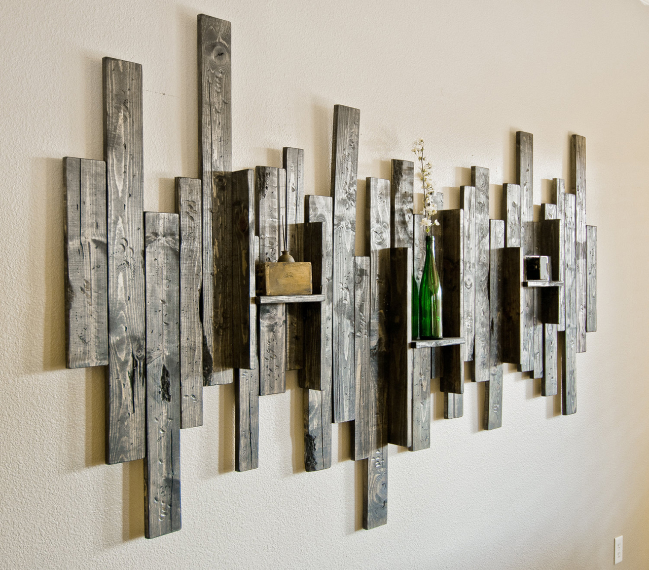 Abstract Wall Art and Shelf from Rustic Barn Wood & 27 Best Rustic Wall Decor Ideas and Designs for 2018