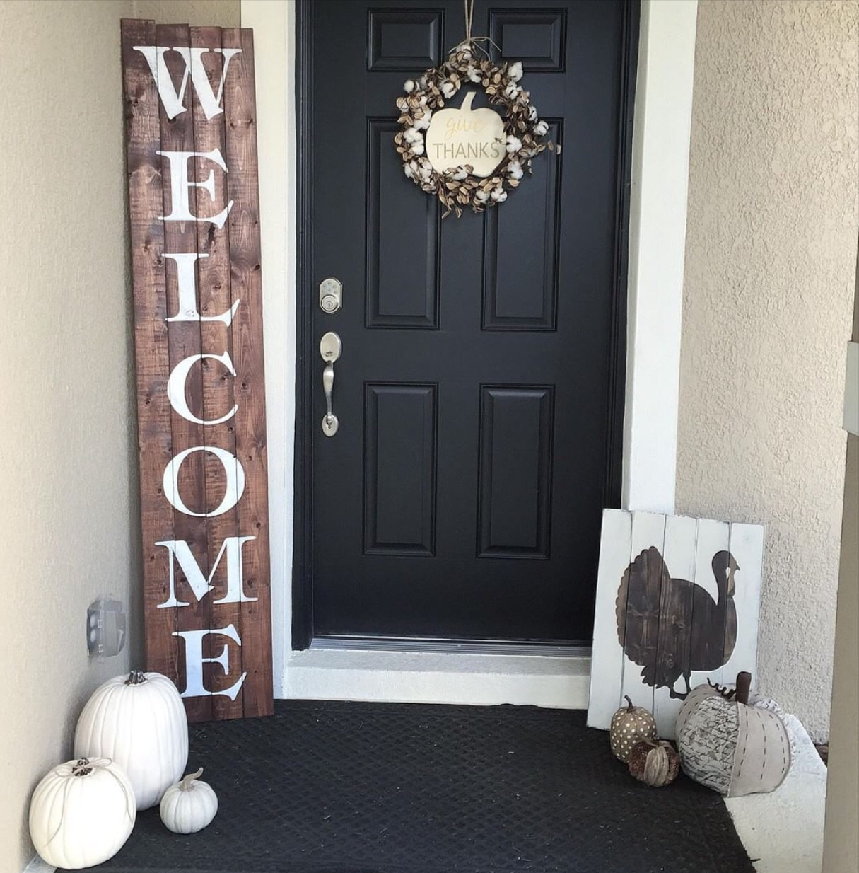 Wood Sign Design Ideas how to make a diy wooden sign Stenciled Front Door Welcome Sign