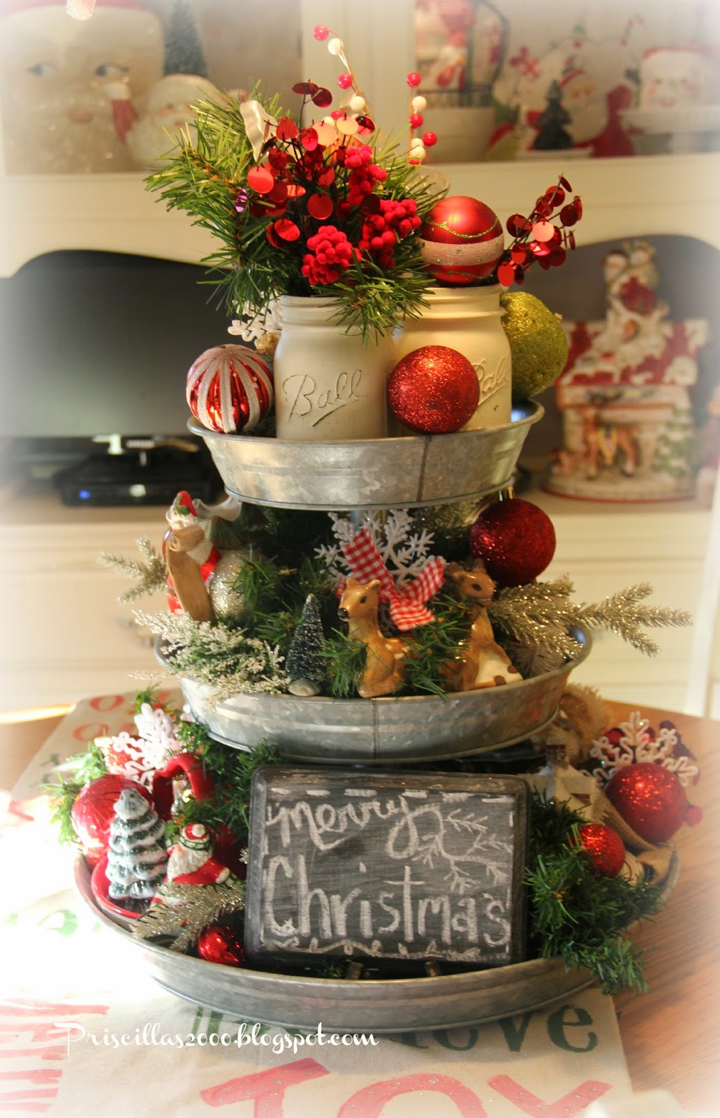 country christmas table topper - Diy Christmas Table Decorations