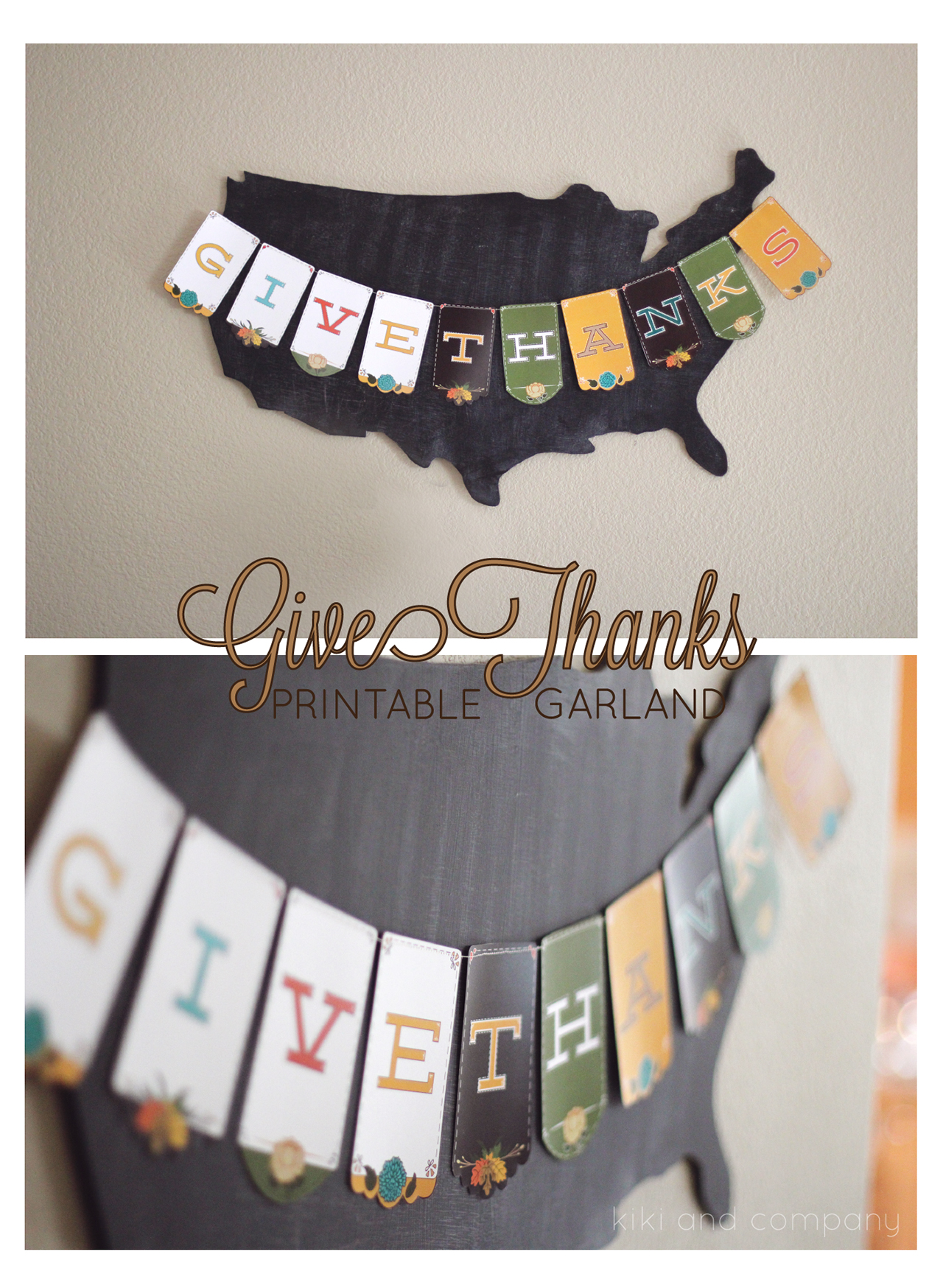 Bunting on Painted USA Wood Cutout