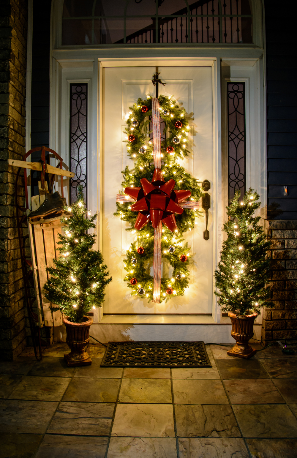 14 bold wreath trio - Porch Decorating Ideas Christmas