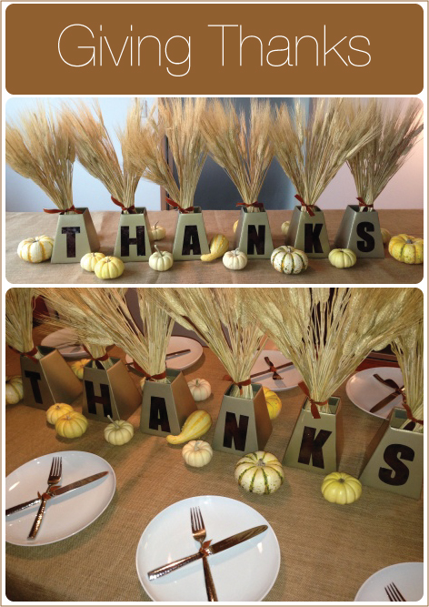 mini metallic lettered thanksgiving centerpieces with wheat bundles - Thanksgiving Centerpieces Ideas