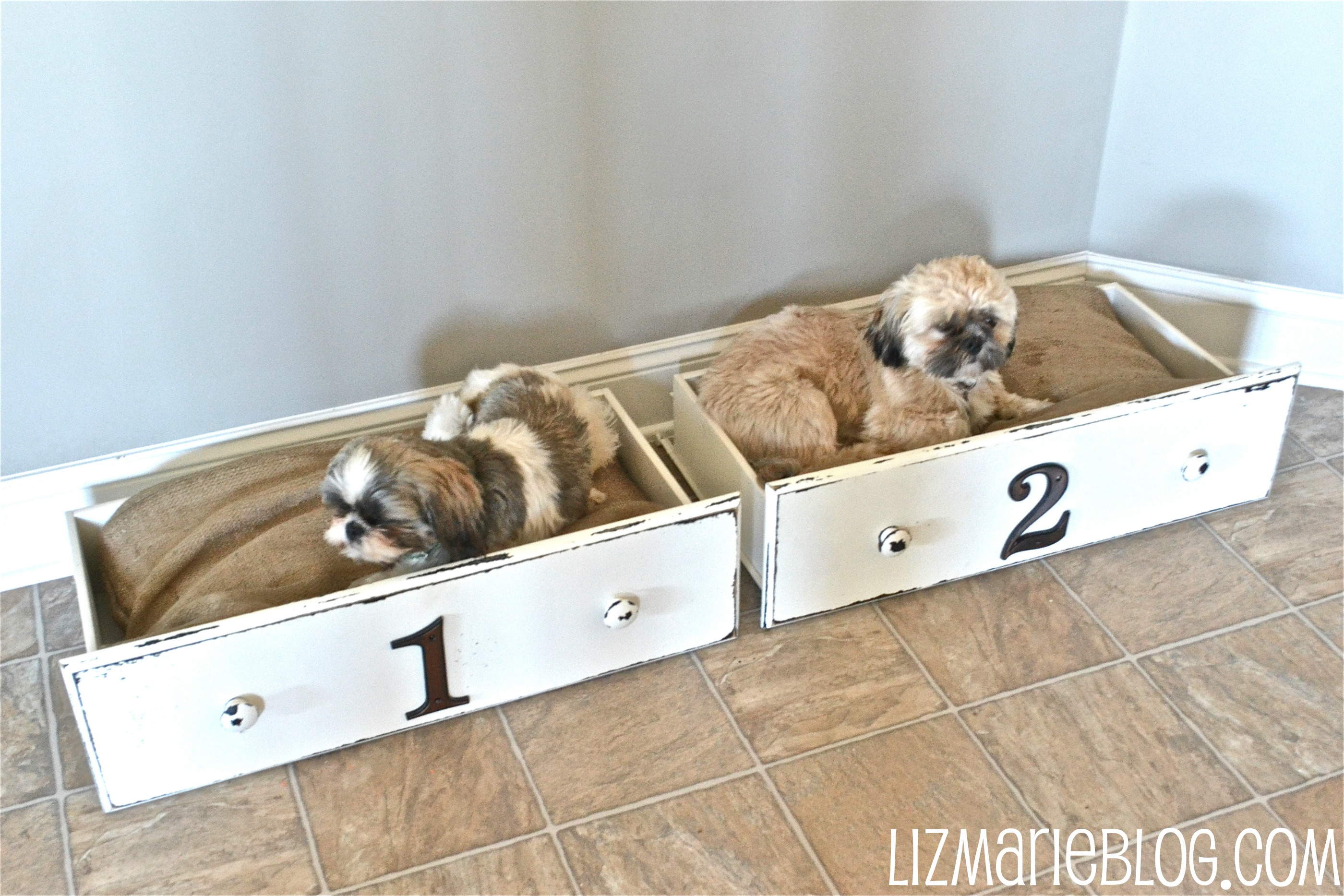 Reclaimed Dresser Drawers Turned Doggie Beds