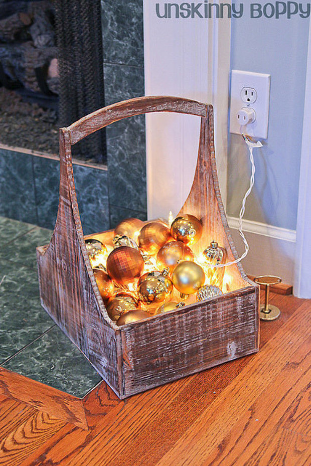 basket of glowing ornaments - Christmas Basket Decoration Ideas
