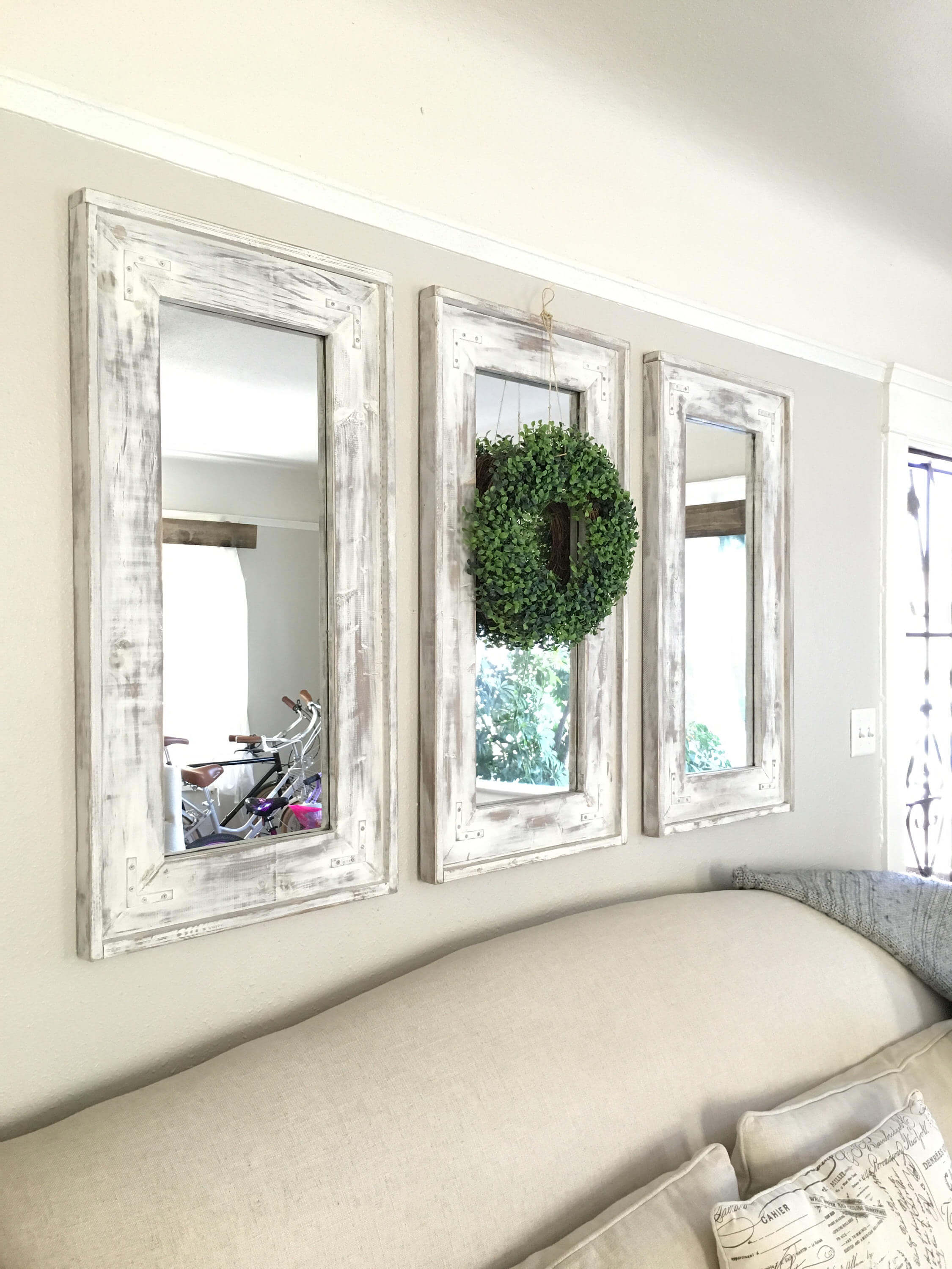 rustic wall mirrors dining room retrofitted wall mirrors with natural wreath accent homebnc