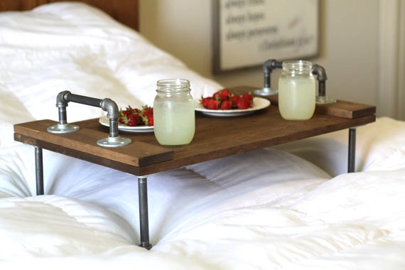 Rustic Industrial Wooden Bed Tray