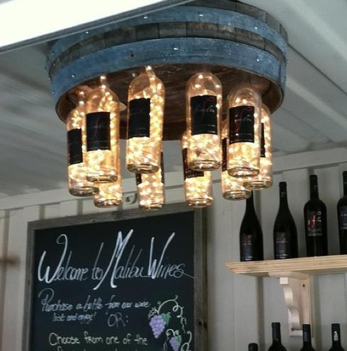 Rustic wine bottle chandelier homebnc rustic wine bottle chandelier arubaitofo Image collections