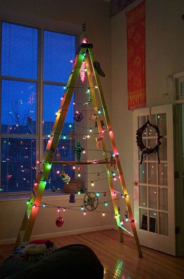 minimalist ladder christmas tree - Christmas Tree Ladder Decoration