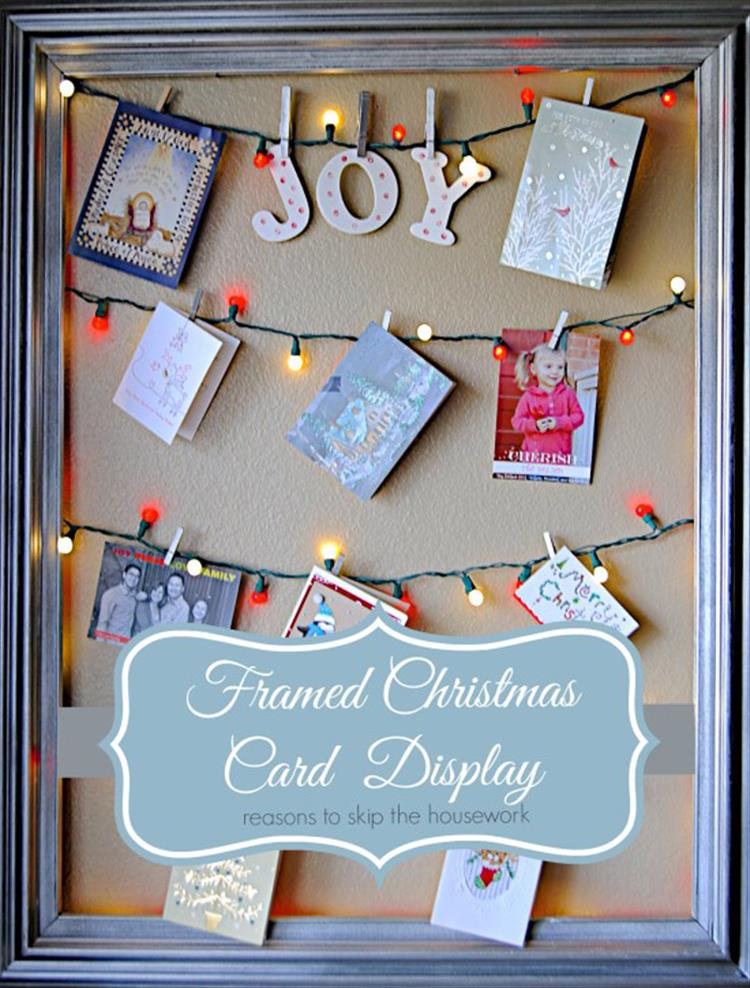 Cute Christmas Card Display with Christmas Lights