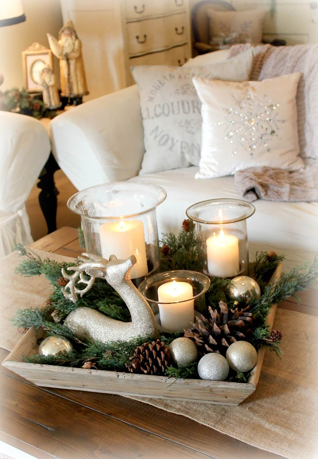1 candles aglow with sparkling woodland accents - Diy Christmas Centerpieces
