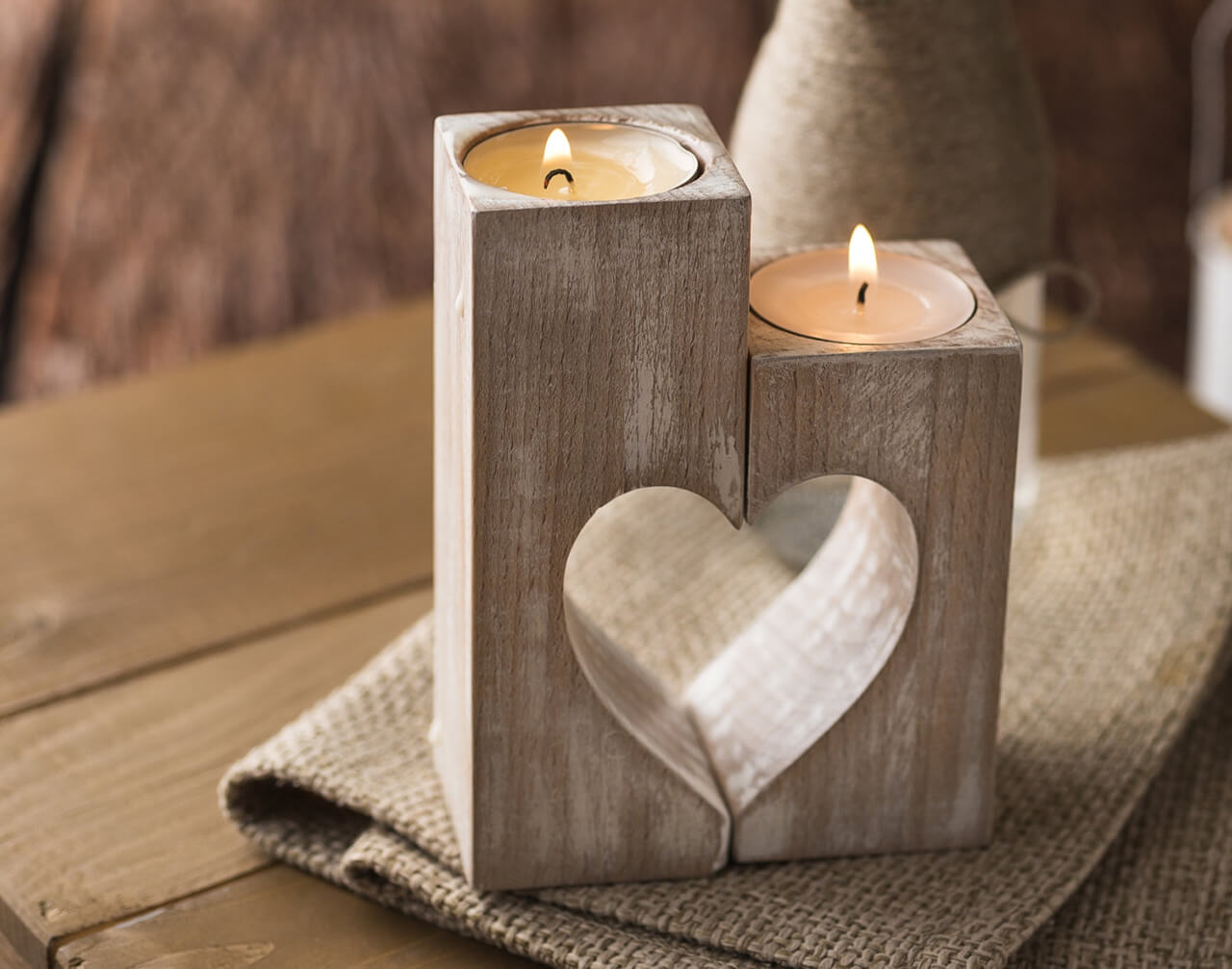 Complete Heart Wooden Candle Holders
