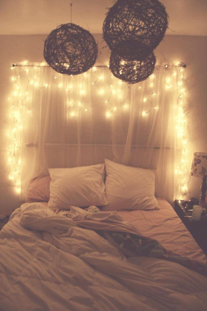 1 twinkle light and sheer gauze curtain headboard - Vintage Bedroom Design Ideas