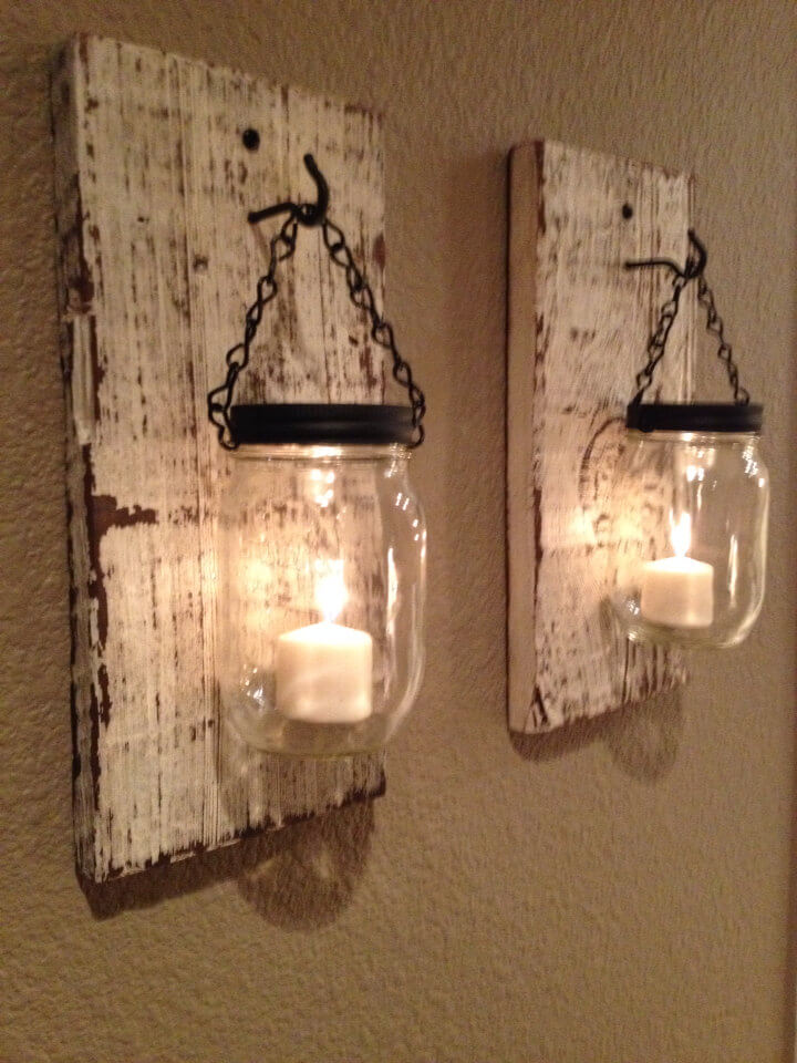 Reclaimed Wood and Mason Jar Votive Holders