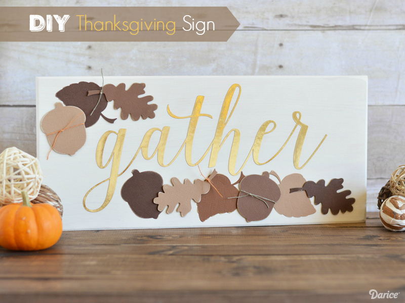 Ivory Plaque with Die Cut Autumn Elements