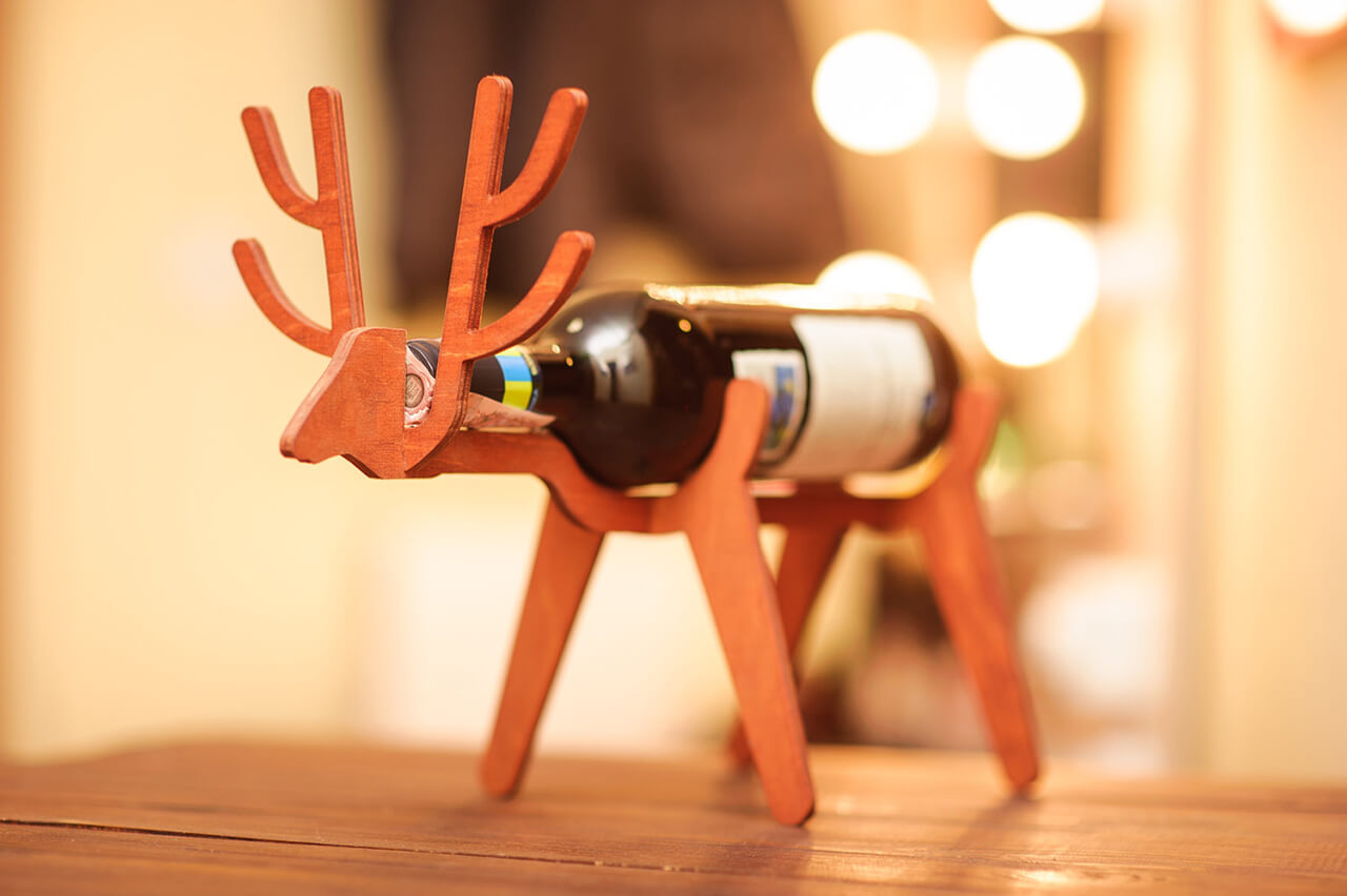 Veneer Wood Wine Bottle Holder