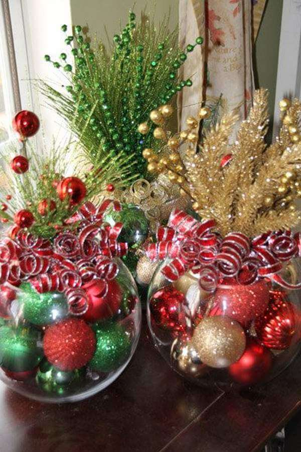 4 bling crystal bowls of glittering ornaments - Simple Christmas Table Decorations