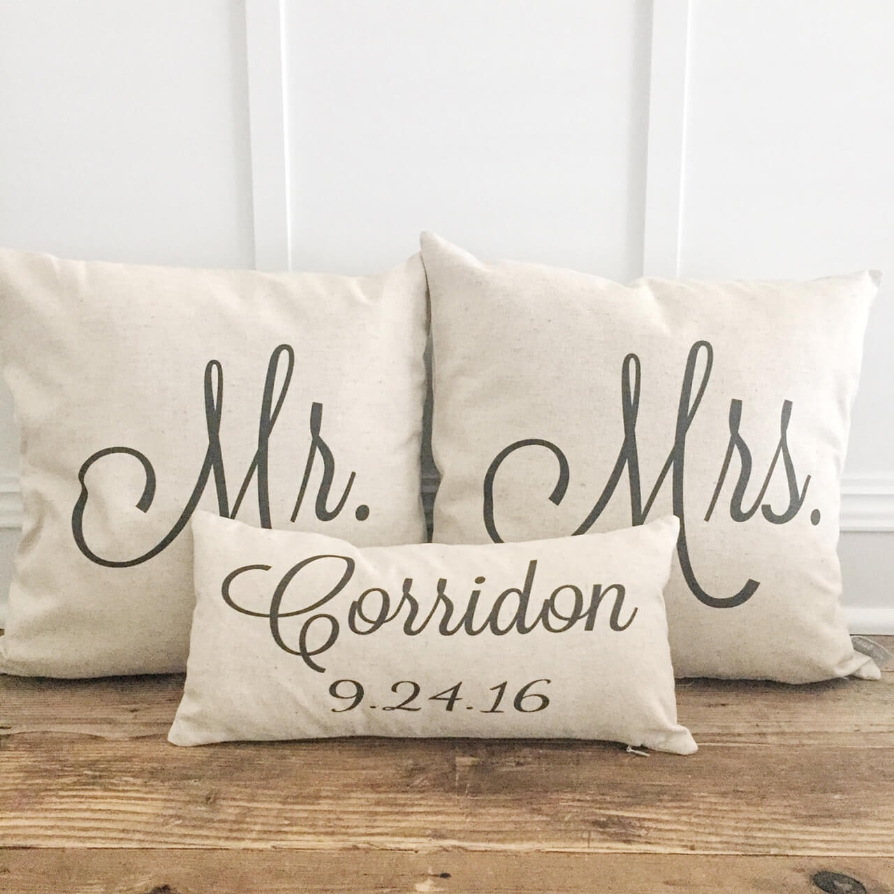Linen Pillowcases Customized for Mr. & Mrs.