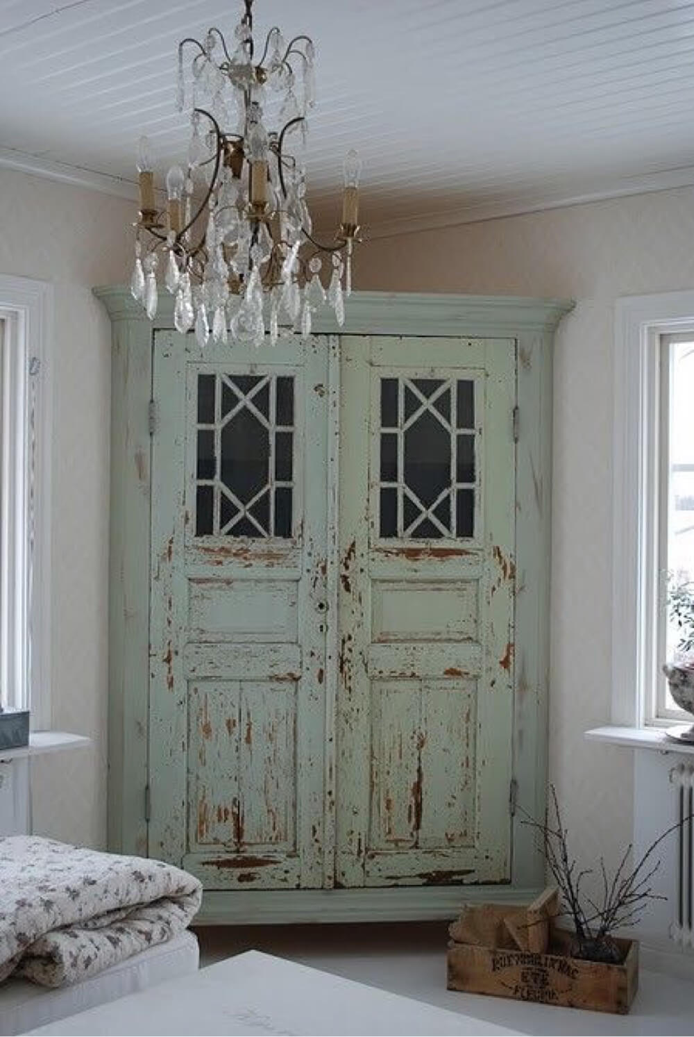 4. Custom Corner Wardrobe Made From Distressed Doors