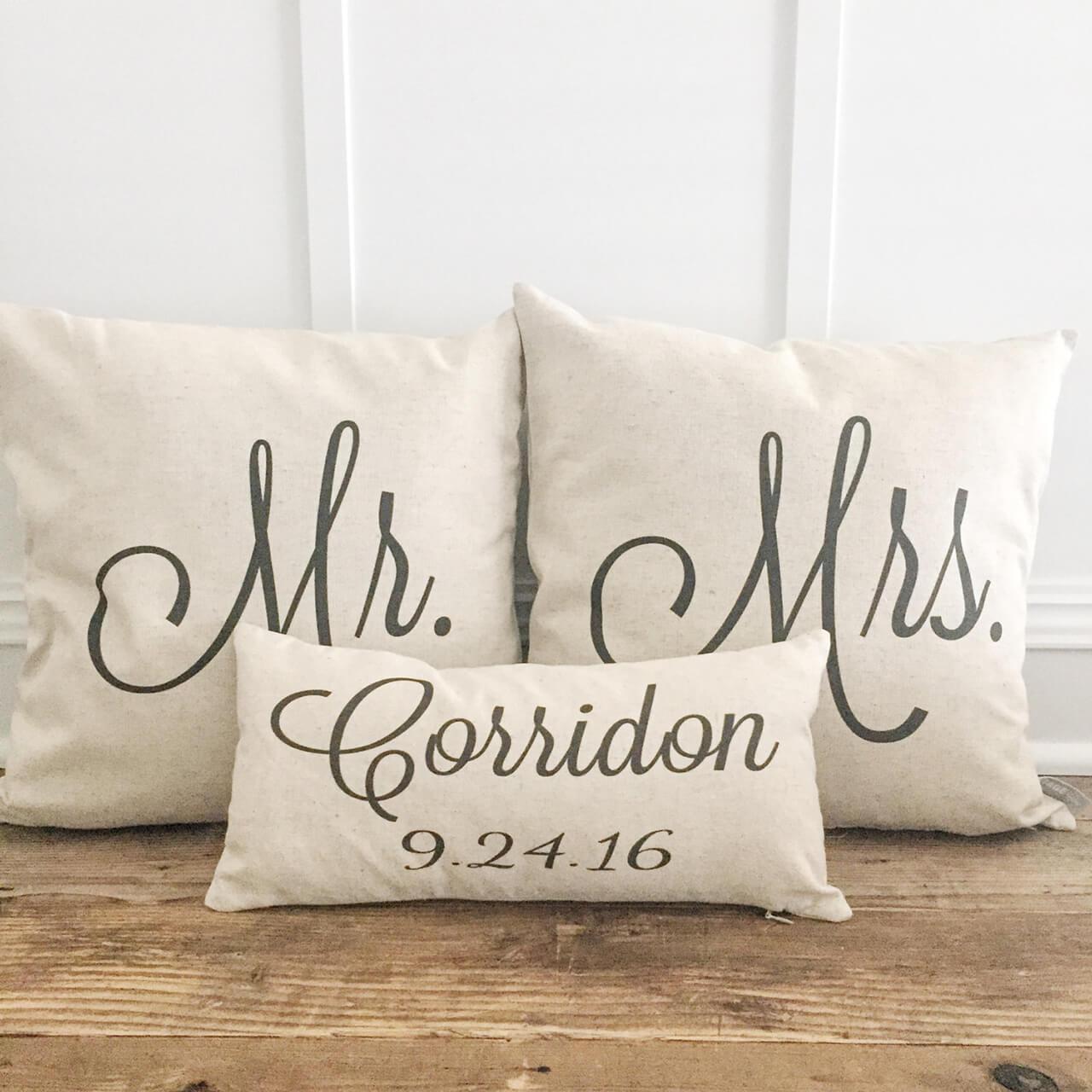Linen Pillowcases Customized for Mr. & Mrs.
