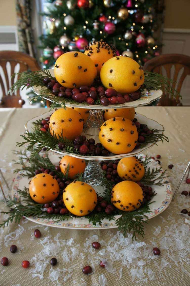 China Dessert Stand Featuring Traditional Clove-spiked Christmas Oranges
