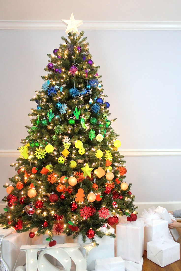 5 a fun rainbow - Red And Gold Christmas Tree Decoration Ideas