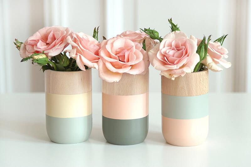 Set of 3 Wooden Color Block Vases