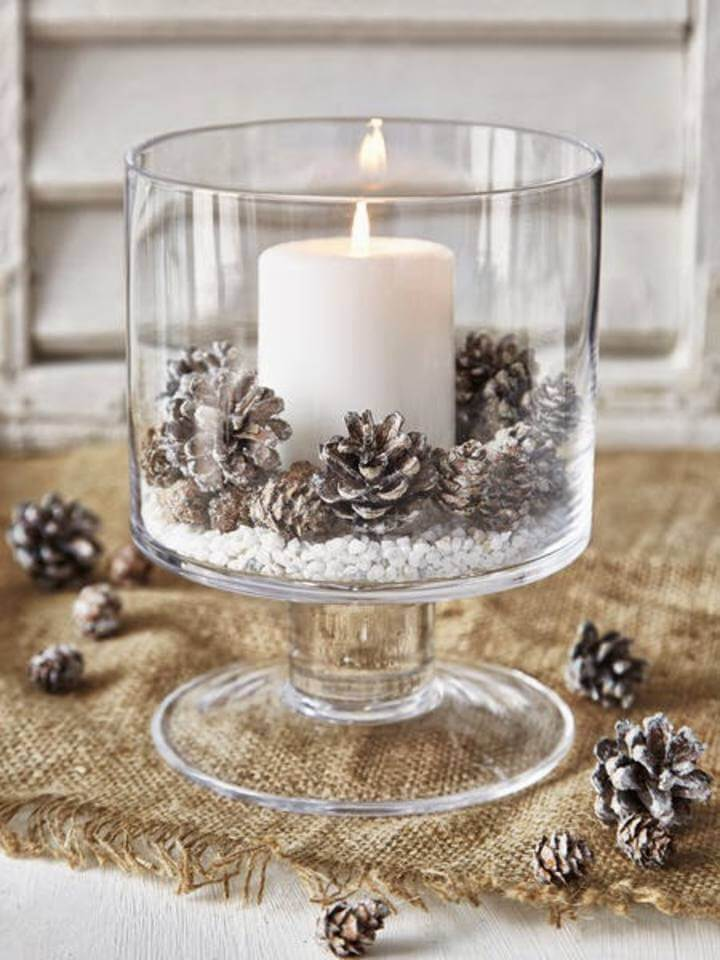 8 snow dusted winter wonderland pedestal pillar candle - Diy Christmas Centerpieces