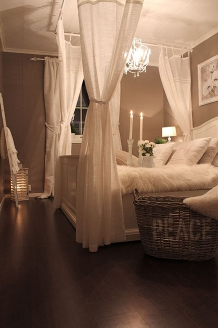 8. Mock Four-poster Canopy Bed With Linen Drapes
