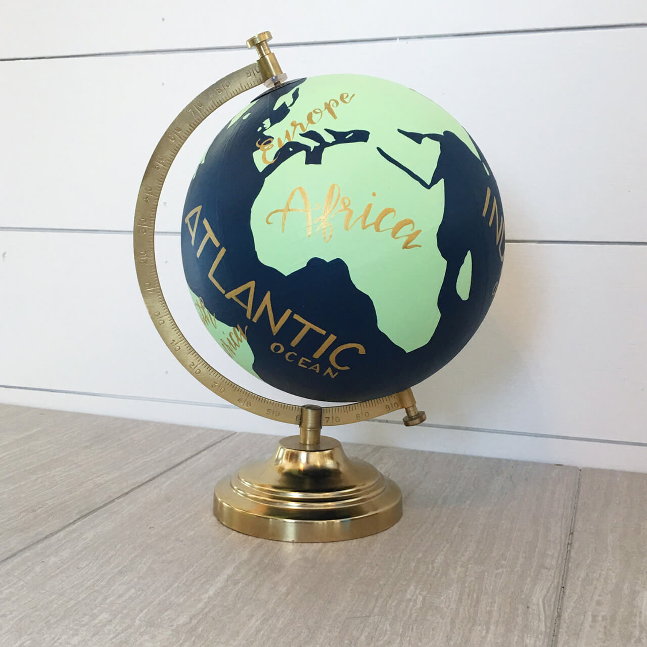 Handpainted Globe With Finished Stand