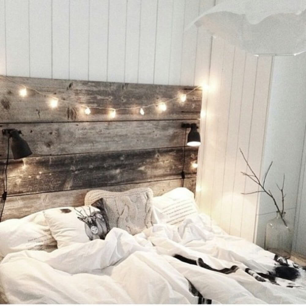 9. Reclaimed Wood Headboard With Built In Reading Lights