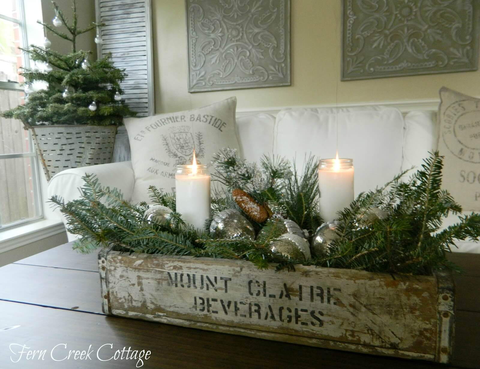 fragrant boughs and rustic crate table arrangement - Rustic Christmas Centerpieces