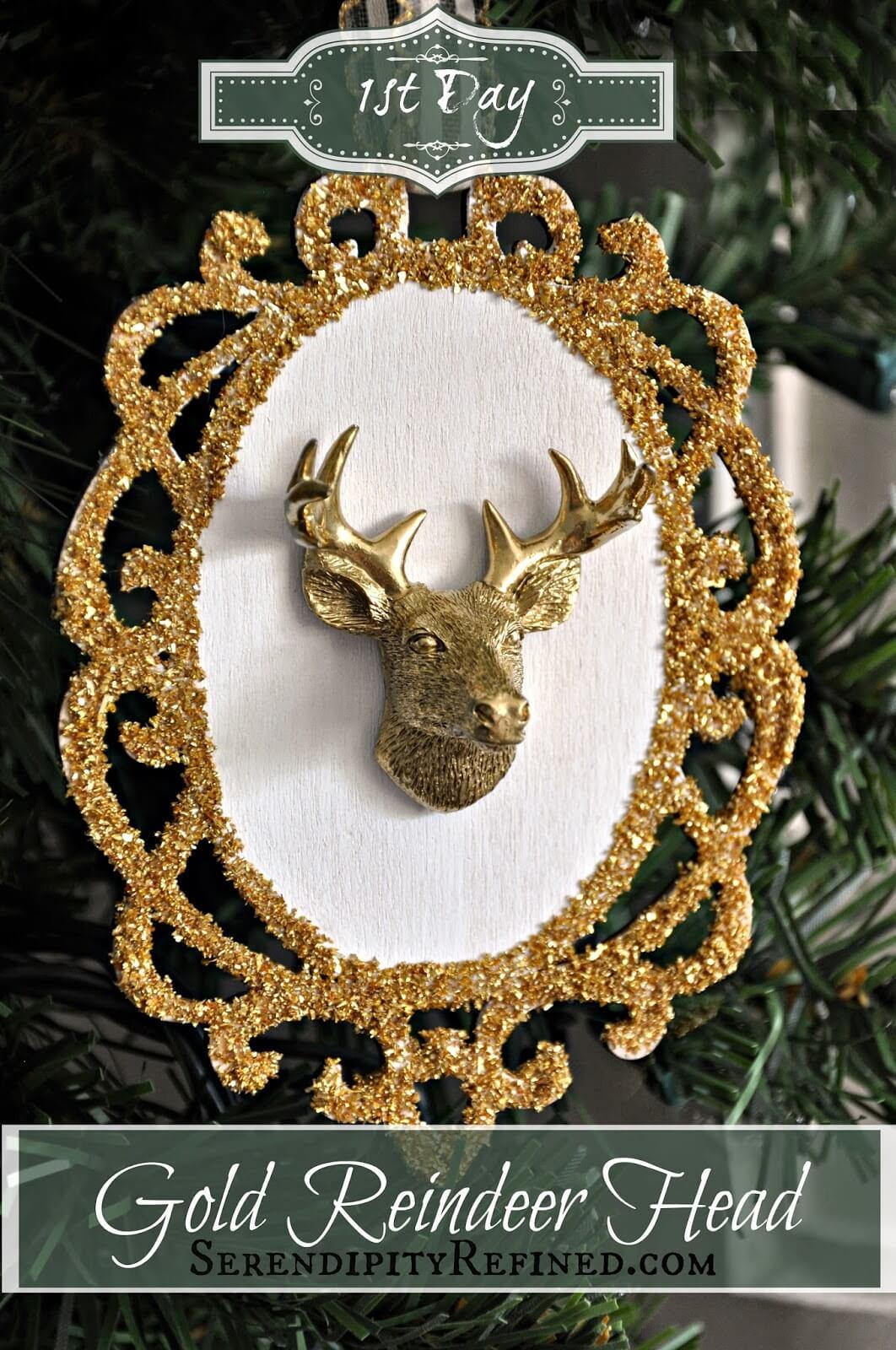 Gilded Reindeer Head