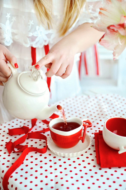 Heart Shaped Porcelain Teacup