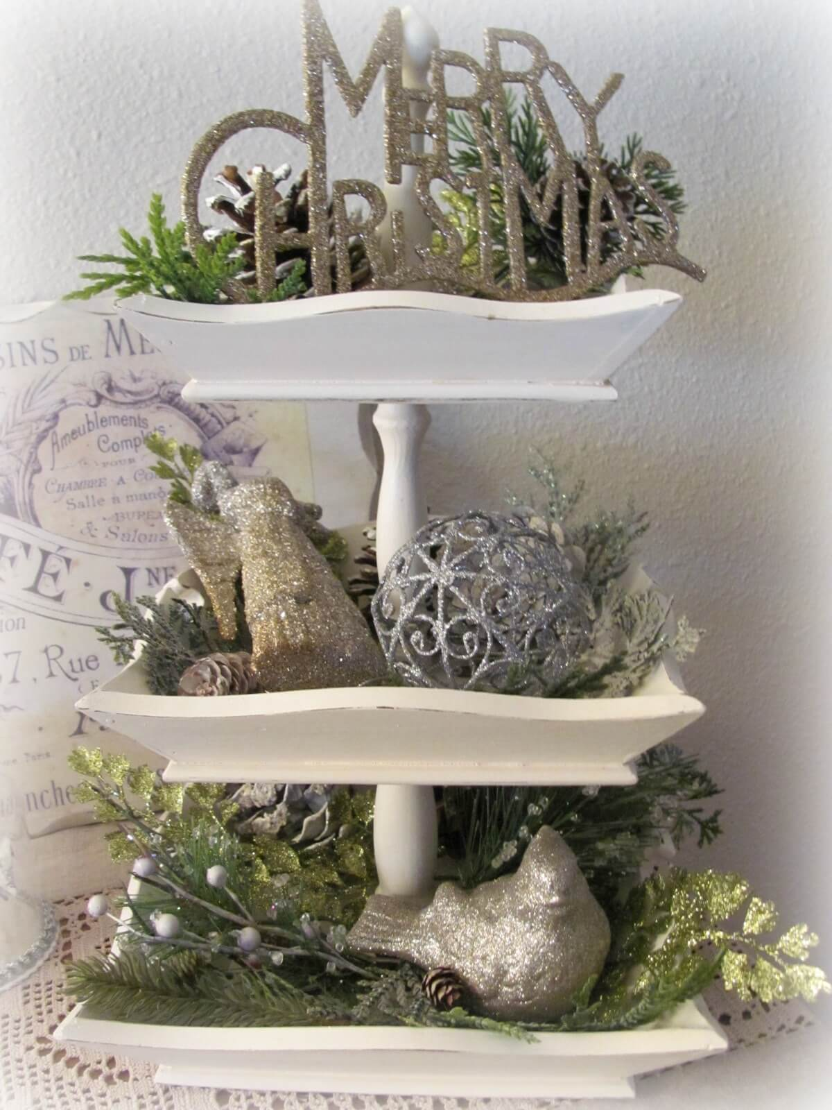 White Wooden Stand With Faux Greenery And Glittered Accents