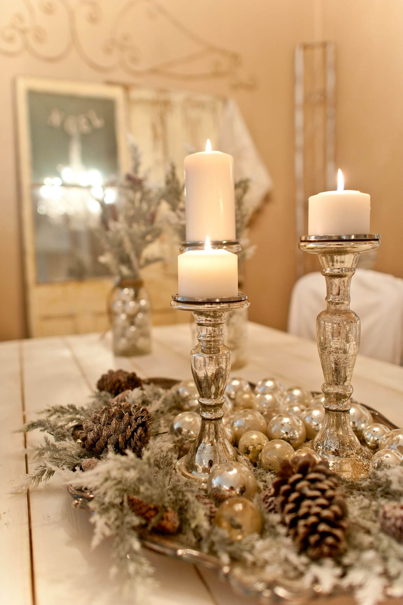 Silver Frosted Christmas Centerpieces