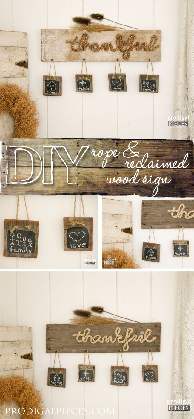 Reclaimed Wood with Rope Script