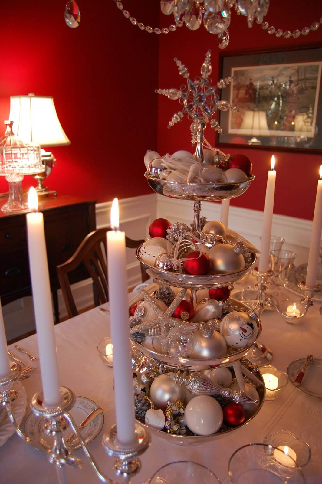 Towering Silver Centerpiece Display With Red Accent Ornaments