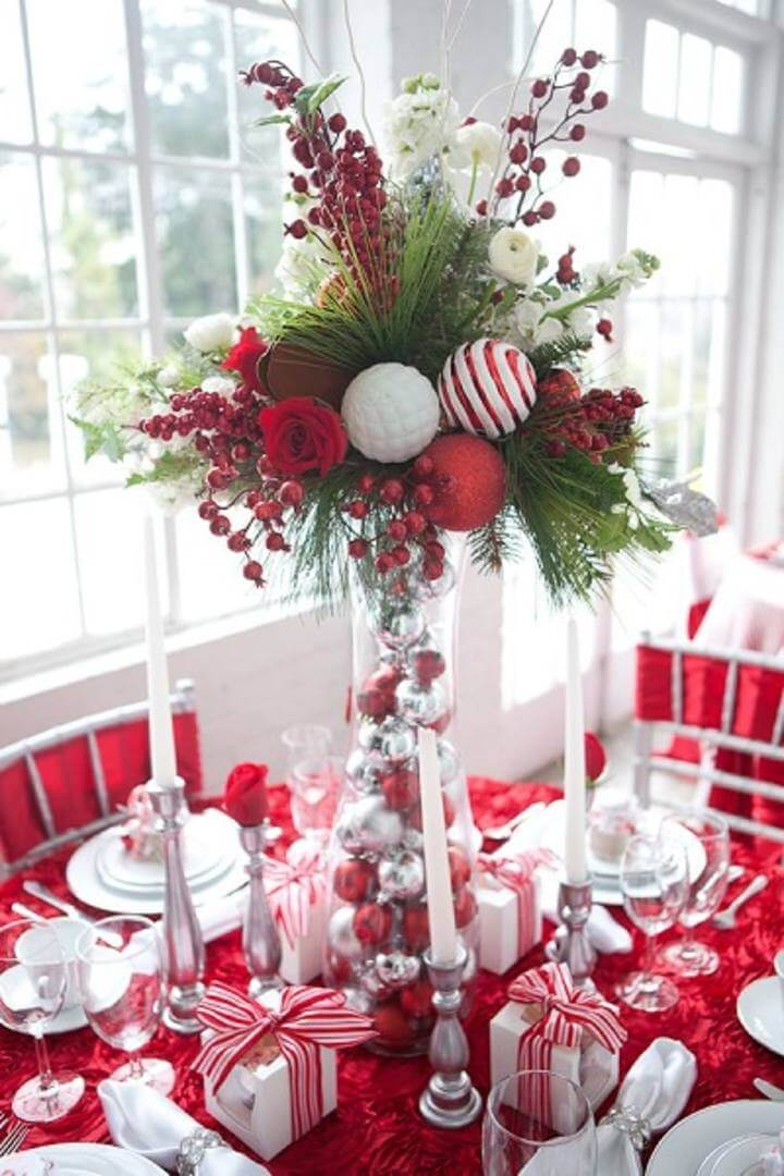 Red Roses Silver Sparkles Christmas Bouquet